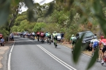 The riders leave the feed zone
